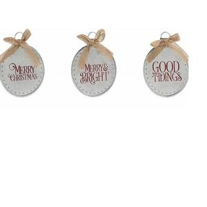 Other - Galvanized Metal Christmas Ornaments Set of 3